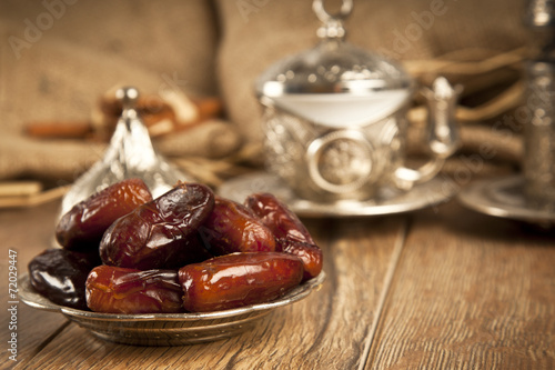 Plexiglas Aromatische Dried date palm fruits or kurma, ramadan ( ramazan ) food