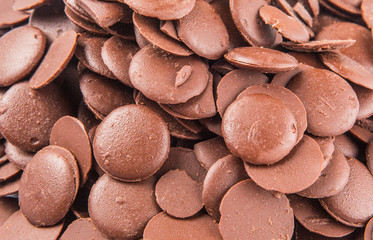 Close up view of chocolate button
