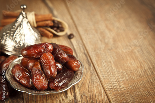 Fotobehang Voorgerecht Dried date palm fruits or kurma, ramadan ( ramazan ) food