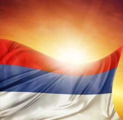 Serbian flag in sky