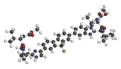 Ledipasvir hepatitis C virus (HCV) drug molecule.