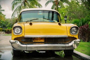 old, vintage, retro, yellow beautiful classic car in garden
