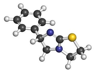 Levamisole antihelmintic drug molecule.
