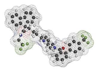 Lomitapide cholesterol lowering drug molecule.