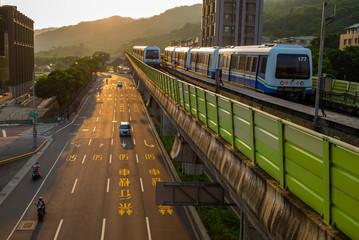 metro train on the way in Taipei city