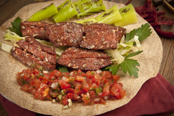 Grilled Turkish Sausage (Sucuk with Lavash)