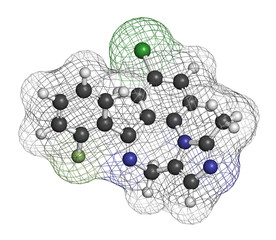 Midazolam benzodiazepine drug molecule.