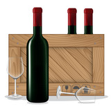 Bottles of wine in wooden box and glass wine