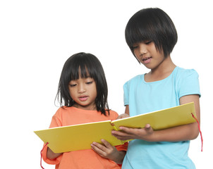 Portrait of two little girls reading the book