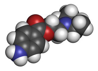 Procaine topical anesthetic drug molecule.