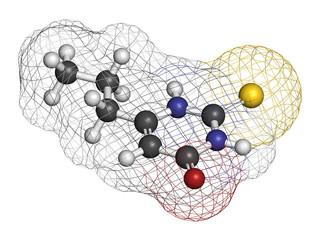 Propylthiouracil (PTU) hyperthyroidism drug molecule.