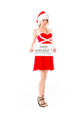 model isolated on white holding a sign