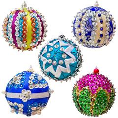 Set of five homemade Christmas ball