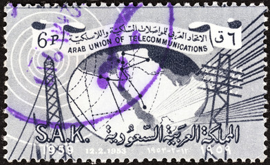 Telecommunication pylons and map (Saudi Arabia 1961)