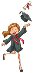 A simple drawing of a happy girl graduating