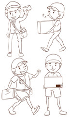 A plain drawing of a postman