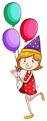 A simple drawing of a young girl with balloons
