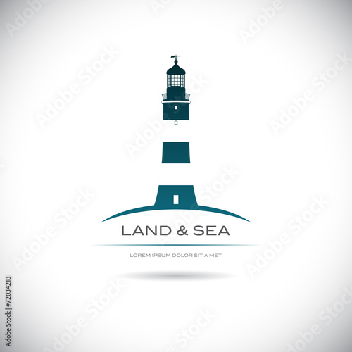 Label with a picture of the lighthouse - 72034218