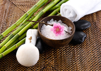 health spa setting with cherry ,towel