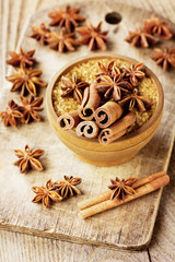 Cinnamon sticks, anise star and cane sugar