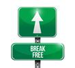 break free sign illustration design