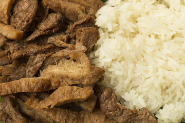 Vegetarian food - Meat from Soy Bean with Sticky rice