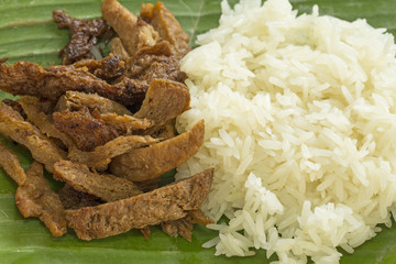 Meat from Soy Bean with Sticky rice