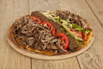 Doner Adana Kebab with Lahmacun - Turkish pizza pide