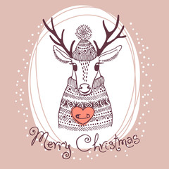 Hand drawn vector illustration with cute deer. Merry Christmas