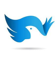 Bue bird and wings icon logo vector