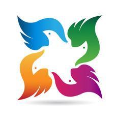 Birds team logo vector icon