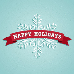 Happy Holidays Blue Square Card