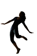 Silhouette of young Asian woman pose
