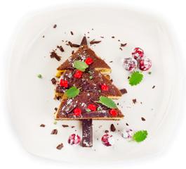 Christmas Tree made of  chocolate cake