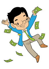 Happy asian office man with money