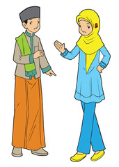 Asian muslim boy and girl friendship