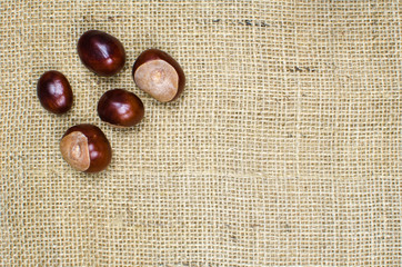 Sweet chestnuts at burlap surface