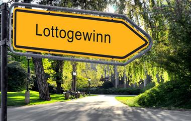 Strassenschild 25 - Lottogewinn