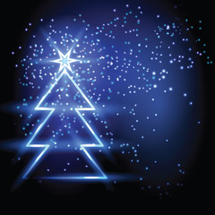 Christmas fir tree on blue background.