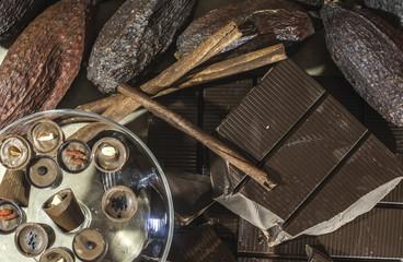 Chocolate bonbons and chocolate bar