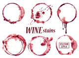 Fototapety Watercolor wine stains icons