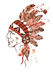 Watercolor Native American Indian chief