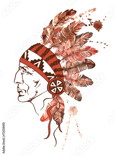 Watercolor Native American Indian chief © Annykos