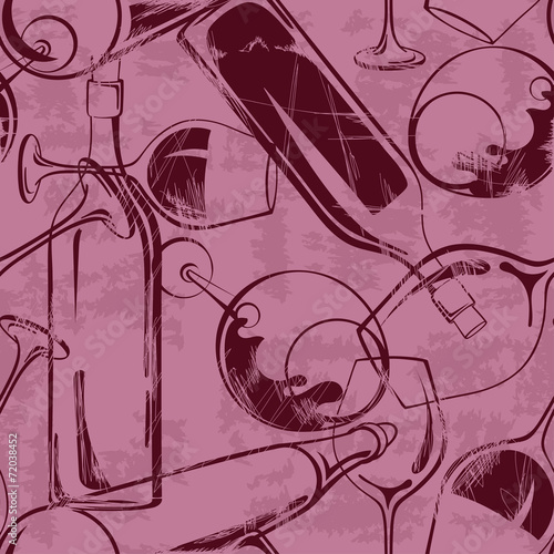 Wine glasses and bottles seamless pattern