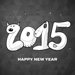 happy new year 2015 hand drawn greeting card poster