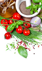 Cherry Tomatoes, chives and peppers on white
