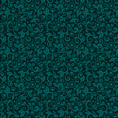 Seamless swirly floral background of winter holidays colors
