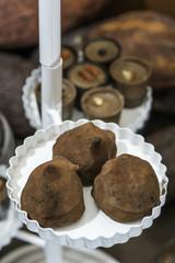 Chocolate bonbons in dish