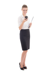 beautiful business woman typing sms isolated on white