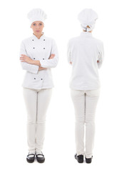 front and back view of young woman in chef uniform isolated on w